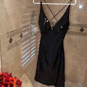 B Darlin Black Sequins Cocktail Dress